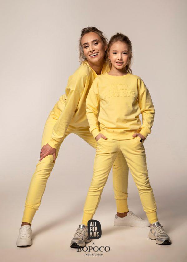 Dres dla dziewczynki Mama i Córka żołty