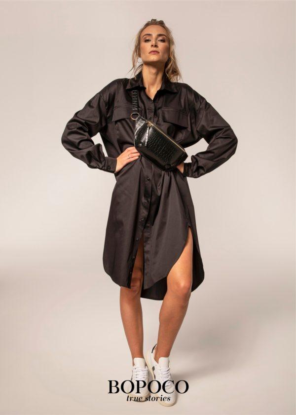 Czarna długa koszula damska Bopoco