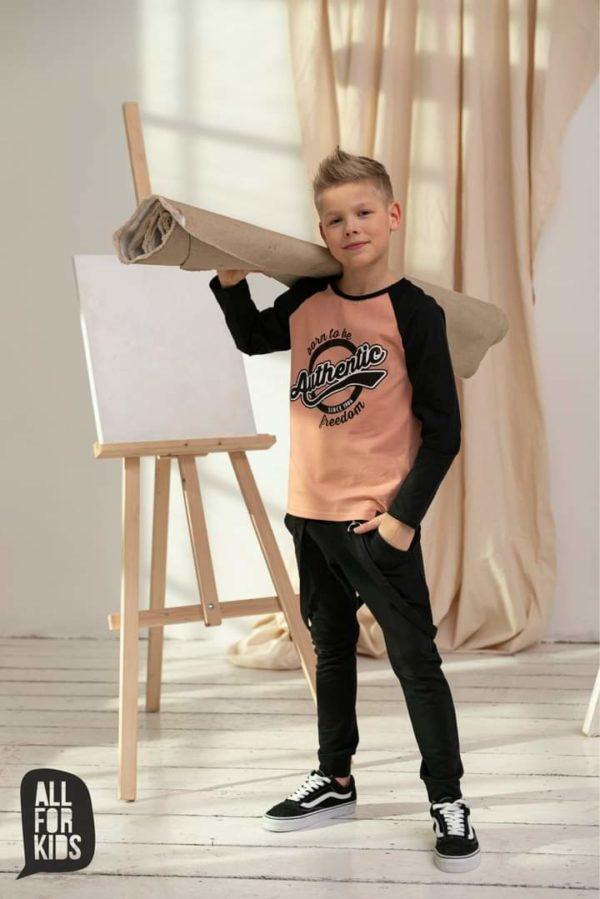 Bluzka dla chłopca longsleeve pomarańczowy