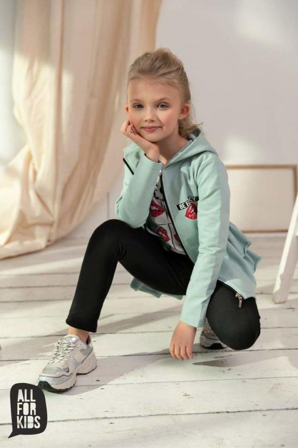 Miętowa bluza rozpinana z falbankami All For Kids