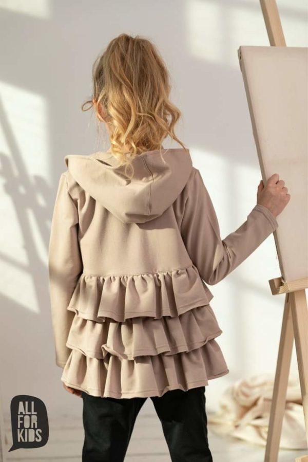 Beżowa bluza rozpinana dla dziewczynki Avesome