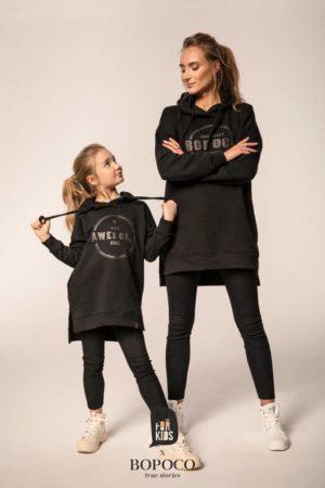 Czarna długa bluza dziewczęca Mama i Córka
