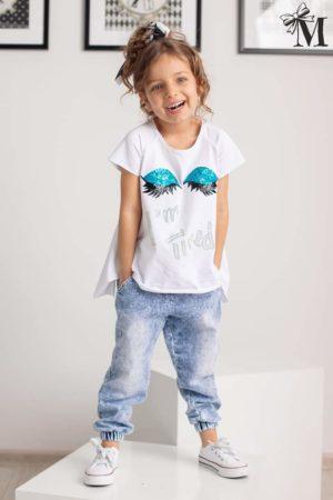 Dziewczęce spodnie jeansowe z gumą na nogawkach