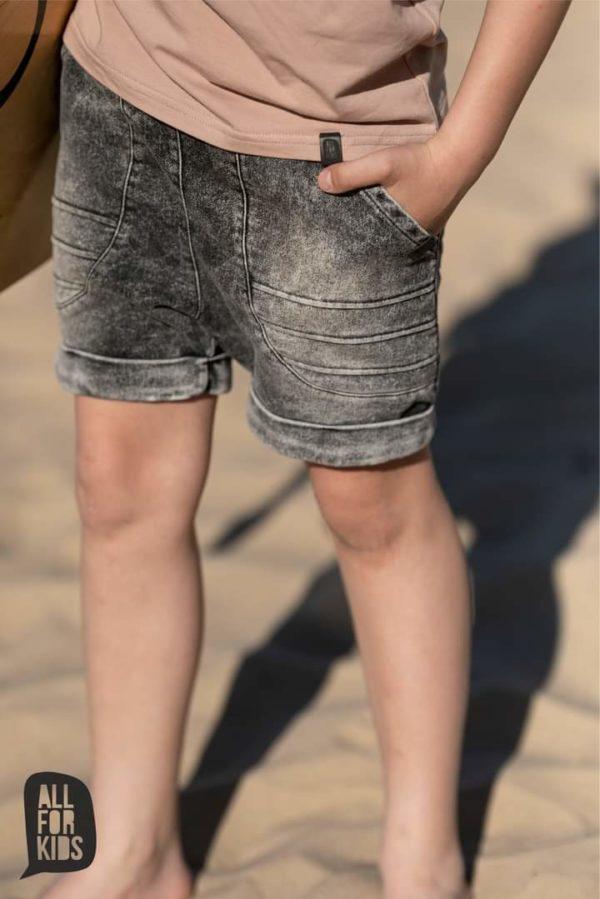 Krótkie spodenki jeansowe Ice Dye szare