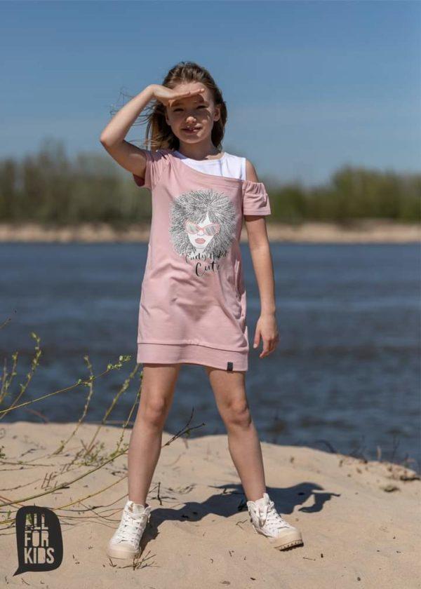 Tunika dla dziewczynki z odkrytym ramieniem