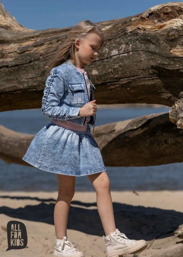 Krótka kurtka dla dziewczynki jeansowa