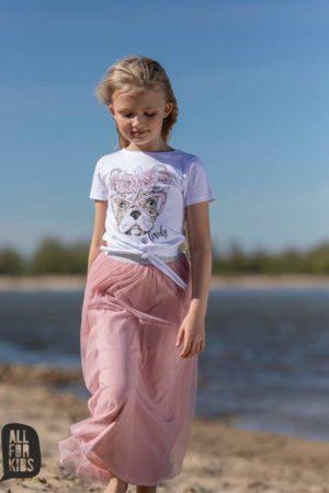 Bluzka wiązana dziewczęca z buldogiem biała