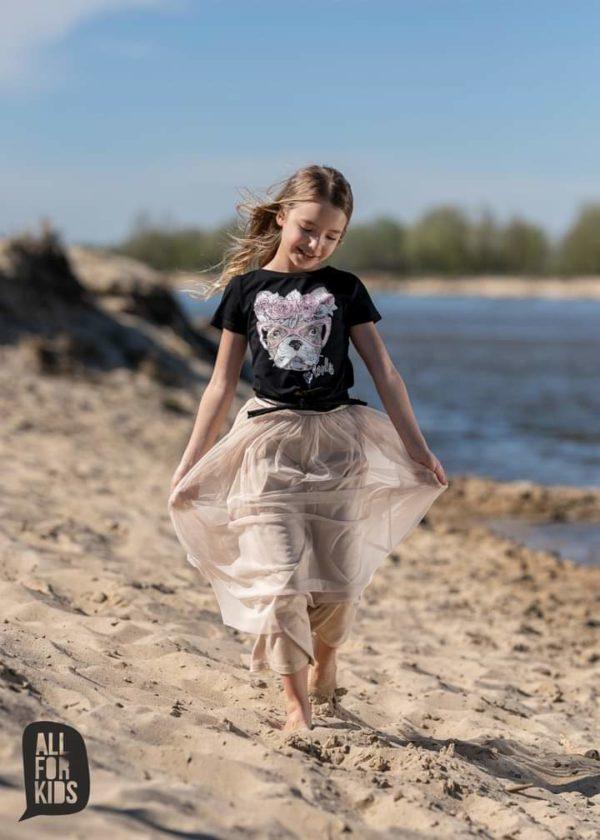 Tiulowa długa spódnica dla dziewczynki beżowa