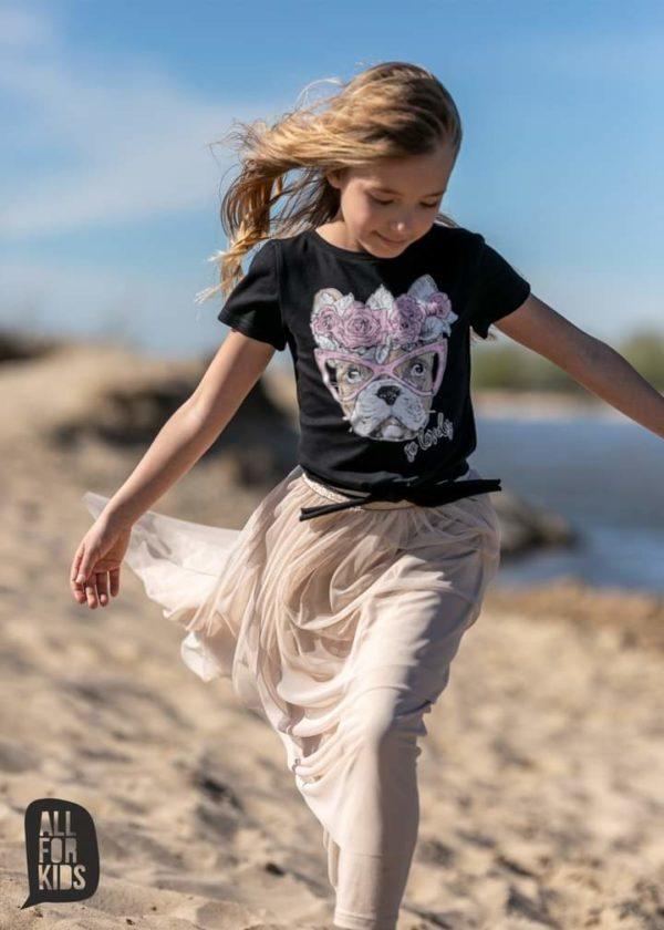 Wiązana bluzka dla dziewczynki z buldogiem czarna