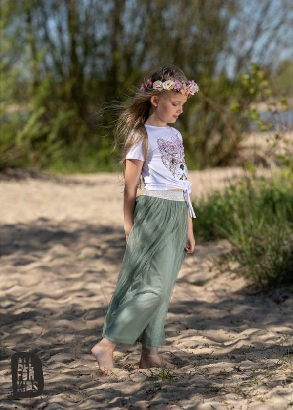 Tiulowa długa spódnica All For Kids miętowa