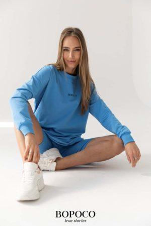 Długa bluza dresowa Bopoco niebieska