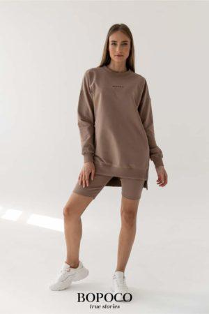 Damska długa bluza BOPOCO w kolorze cappuccino