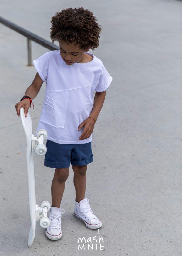 T-shirt z kieszonką Mashmnie biały