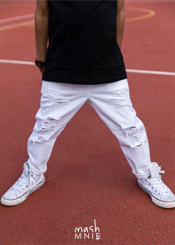 Białe spodnie dla chłopca Mashmnie
