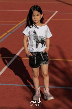 Szorty dla dziewczynki grafitowy jeans Mashmnie