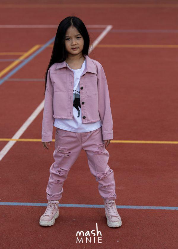Różowe spodnie Boyfriend z dziurami Mashmnie