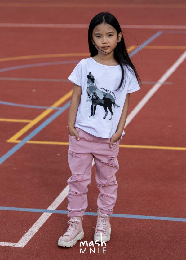 Biała bluzka dla dziewczynki z wycięciami Mashmnie