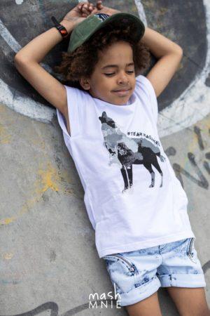 Biały T-shirt dla chłopca Team Mashmnie