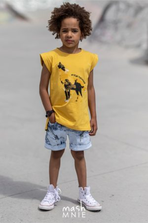 T-shirt dla chłopca Team Mashmnie żółty