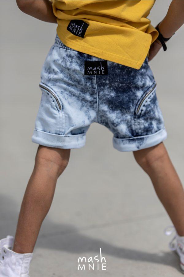 Krótkie spodenki dla chłopca z ekspresami niebieskie