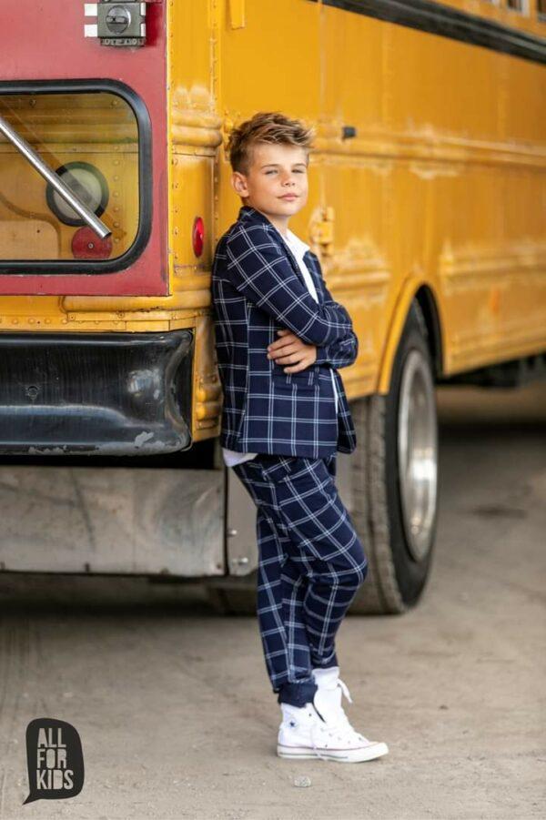 Garnitur granatowy dla chłopca w kratę All For Kids