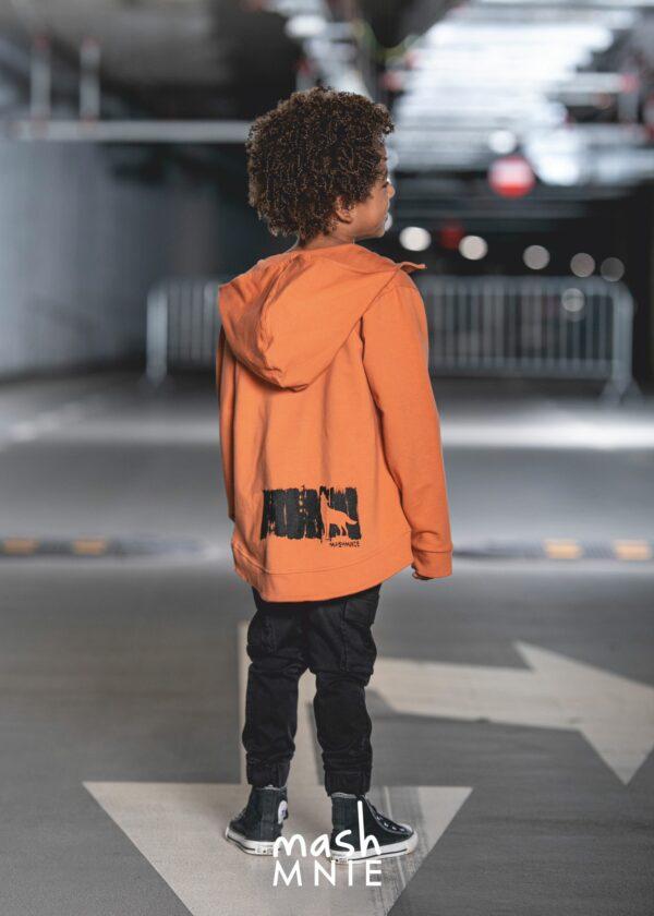 Pomarańczowa bluza rozpinana dla chłopca