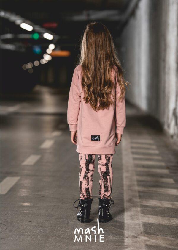 Różowe legginsy prążkowane Mashmnie