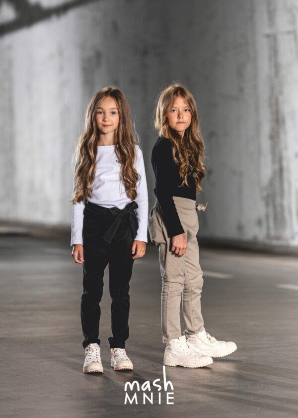 Spodnie z wiązaniem dla dziewczynki Mashmnie beżowe