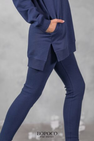 Długie legginsy Bopoco prązkowane w pięknym granacie