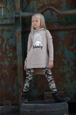 Długa bluza dla dziewczynki w kolorze beżowym